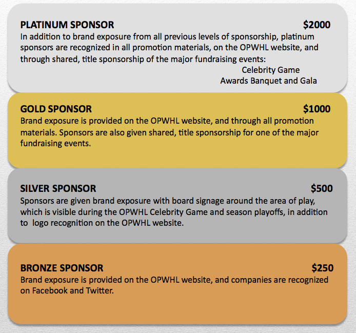 Sponsorship Levels Ottawa Power Wheelchair Hockey League
